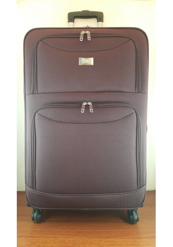 ST 204758 Текстилен куфар LUX с вграден механизъм и метална шина на 4 колела - голям  размер ''L'' в цвят ВИШНА 76/46/30 см