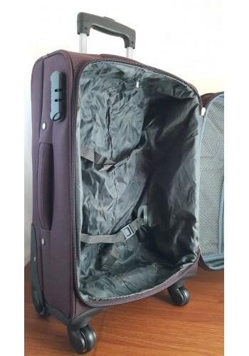 """ST 304758 Комплект тройка текстилни куфари с вграден механизъм и метална шина на 4 колела - """"S/M/L"""" размери в цвят ВИШНА"""
