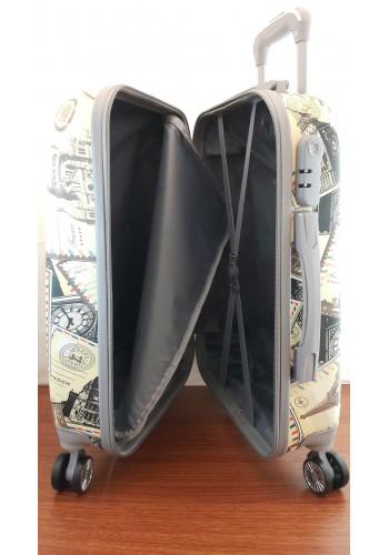 """S 203851 Твърд куфар от поликарбон - голям размер """"L"""" на 4 колела с принт """"ПОЩЕНСКИ МАРКИ""""  75/48/28см"""
