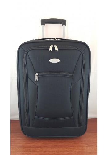 """S 901302 Текстилен куфар с вграден механизъм олекотен малък размер """"S"""" - 55/36/22см в ЧЕРНО"""