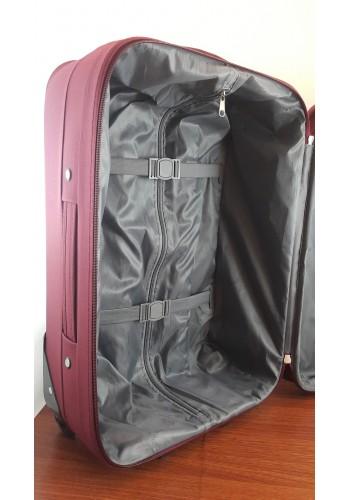 """S 901302 Текстилен куфар с вграден механизъм олекотен малък размер """"S"""" - 55/36/22см в БОРДО"""