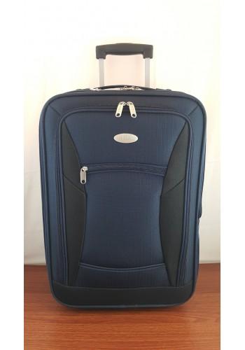 """S 901302 Текстилен куфар с вграден механизъм олекотен малък размер """"S"""" - 55/36/22см в ТЪМНО СИНЬО"""