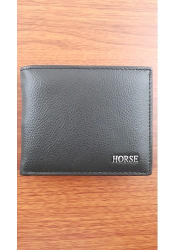 S 029  Мъжки портфейл Horse от естествена телешка кожа в черно с много отделения