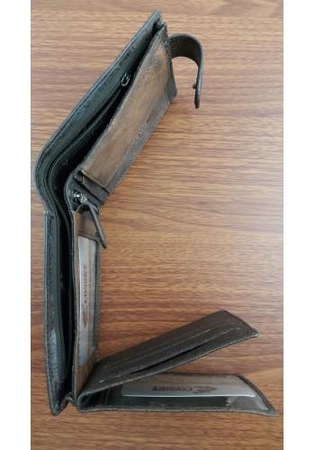 117-278-135-1 Мъжки портфейл COSSET от италианска естествена кожа ПЕРФОРИРАН в кафяво с много отделения