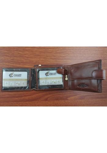 F32-287-135 Мъжки портфейл COSSET от италианска естествена кожа в светло кафяво с много отделения