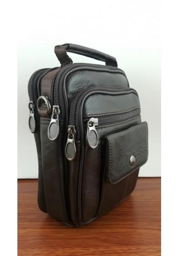 S 5009 Мъжка чанта от естествена кожа - телешки бокс изчистена кафява за през рамо и в ръка