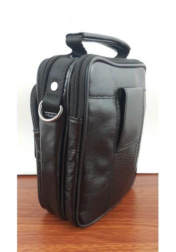 S 5009 Мъжка чанта от естествена кожа - телешки бокс изчистена черна за през рамо и в ръка