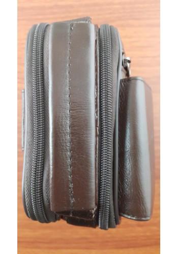 S 5006 Мъжка чанта от естествена кожа - телешки бокс изчистена кафява за през рамо и в ръка