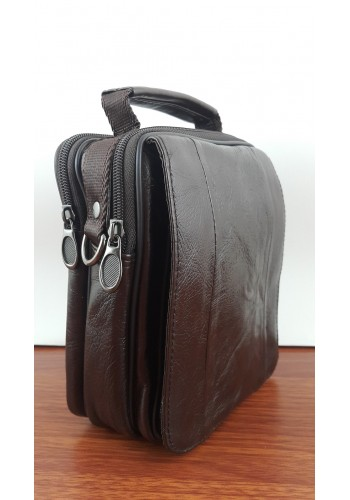 S 5008 Мъжка чанта от естествена кожа - телешки бокс изчистена кафява за през рамо и в ръка