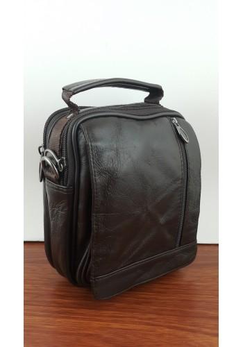 S 12220B Мъжка чанта от естествена кожа - телешки бокс изчистена кафява за през рамо и в ръка