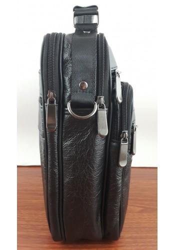 S 5016 Мъжка ГОЛЯМА чанта от естествена кожа - телешки бокс изчистена черна за през рамо и в ръка
