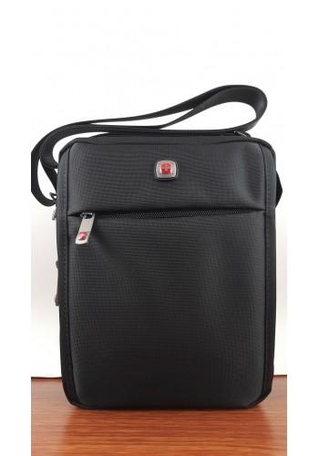 """W 4017 Мъжка текстилна чанта """"SWISS"""" за през рамо от импрегниран - промазан плат в черно"""