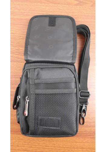 """W 7541 Мъжка текстилна чанта """"SWISS"""" за през рамо от импрегниран - промазан плат в черно"""