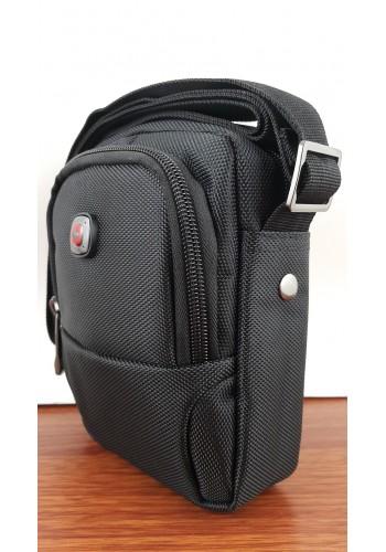 """W 5017 Мъжка текстилна чанта """"SWISS"""" за през рамо от импрегниран плат в черно"""