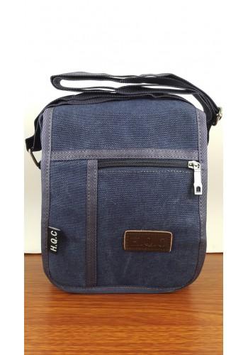 S 0398 Мъжка текстилна чанта за през рамо от брезентов плат в дънково синьо - универсална