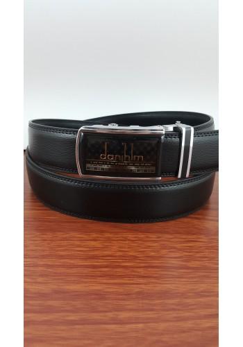 1060-12  Мъжки колан от естествена кожа с плочка в черно - автоматичен
