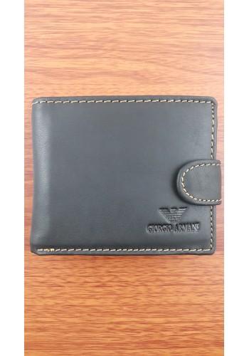 S 805-1  Мъжки портфейл от естествена телешка кожа в черно с декоративен шев