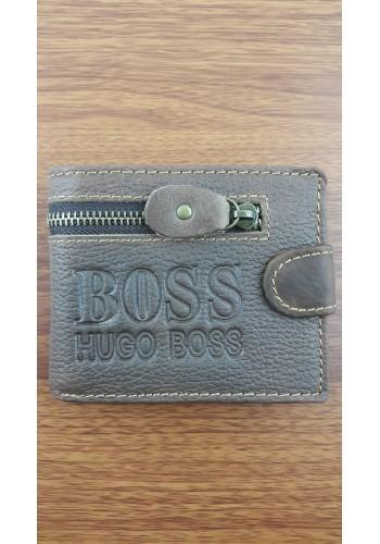 S 805-2  Мъжки портфейл от естествена телешка кожа в кафяво с декоративен шев