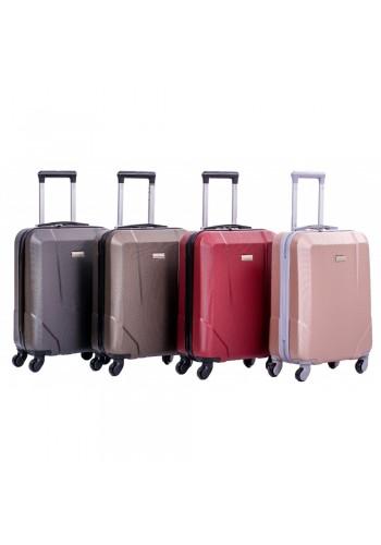 """S 908067 Малък куфар за ръчен багаж от PVC - """"S"""" размер на 4 колела в цвят КАФЕ 55/40/20 см"""
