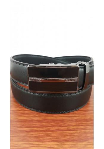 1030-09  Мъжки колан от естествена кожа в черно - автоматичен