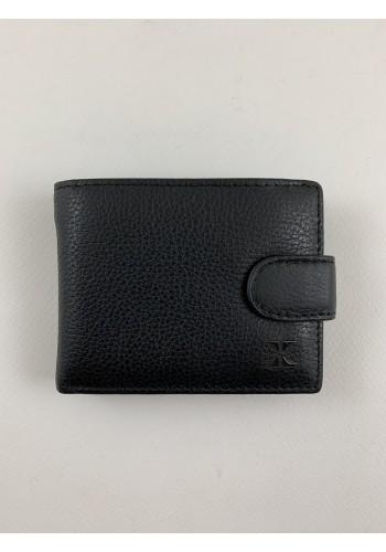 S 9853-13  Мъжки портфейл с изваждащ се органайзер за карти и документи от естествена кожа в черно