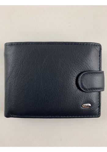 S 61635  Топ модел - Мъжки портфейл от естествена телешка кожа в синьо с много отделения