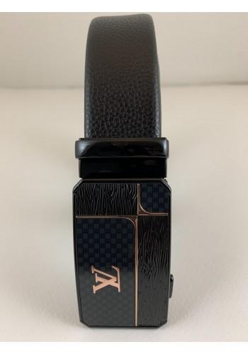 1060-14  Мъжки колан от естествена кожа с плочка в черно - автоматичен