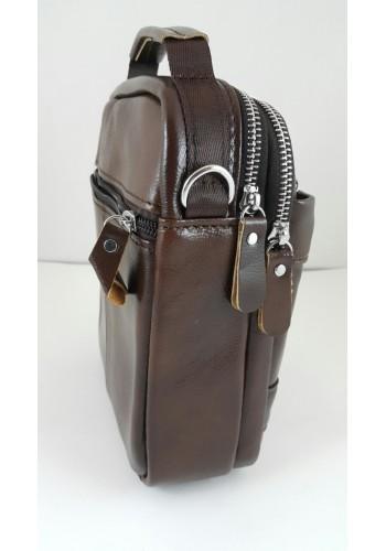 S 1982 Мъжка чанта EXCLUSIVE от висококачествена италианска естествена кожа изчистена кафява за през рамо и в ръка