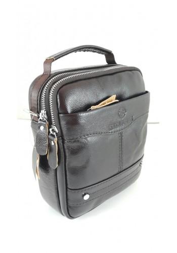 """S 1982 Мъжка чанта EXCLUSIVE от висококачествена италианска естествена кожа изчистена в тъмно """"BURGUNDI"""" за през рамо и в ръка"""