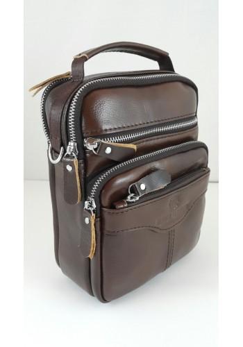 S 1981 Мъжка чанта EXCLUSIVE от висококачествена италианска естествена кожа - изчистена кафява за през рамо и в ръка