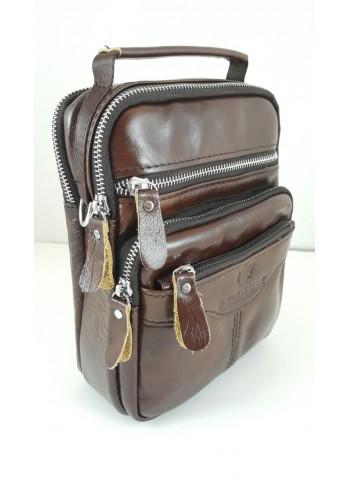S 1981 Мъжка чанта EXCLUSIVE от висококачествена италианска естествена кожа - в светло Burgundi за през рамо и в ръка