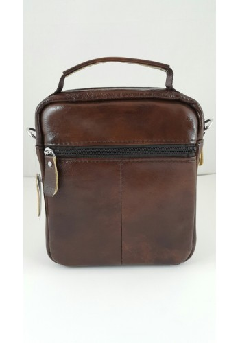 """S 1982 Мъжка чанта EXCLUSIVE от висококачествена италианска естествена кожа изчистена в светло """"BURGUNDI"""" за през рамо и в ръка"""