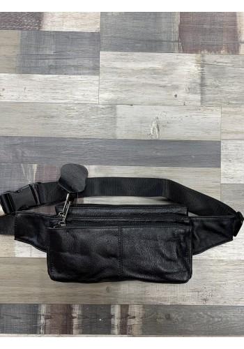 """S 2602А Мъжка чанта за кръста - тип паласка """"slim"""" модел от естествена телешка кожа в черно"""