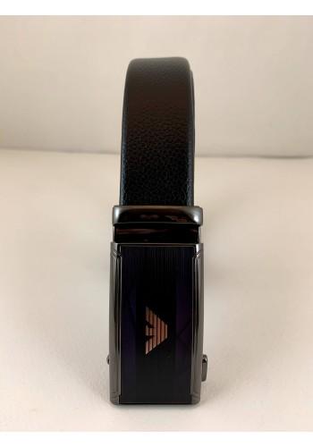 1060-19  Мъжки колан от естествена кожа с плочка в черно - автоматичен