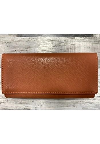 SLW 50 - Дамски портфейл от естествена кожа в оранжева пудра с много отделения - лукс