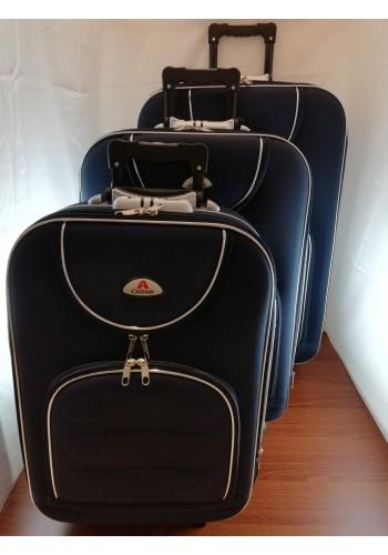 """ST 104700 Комплект тройка текстилни куфари с външен механизъм олекотен - """"S/M/L"""" размери в тъмно синьо"""