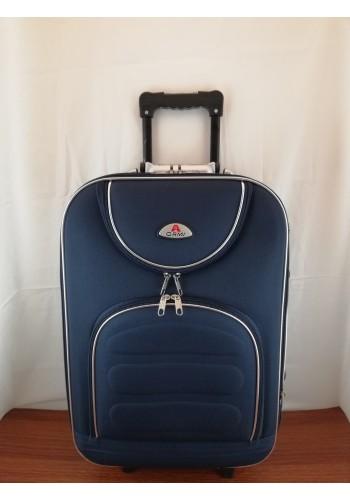 ST 104753 Текстилен куфар с външен механизъм олекотен - малък размер ''S'' в тъмно син цвят