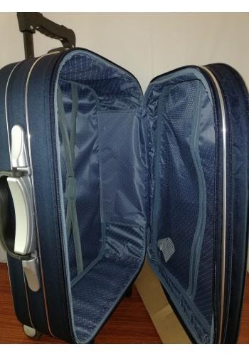 ST 104753 Текстилен куфар с външен механизъм олекотен - среден размер ''M'' в тъмно син цвят