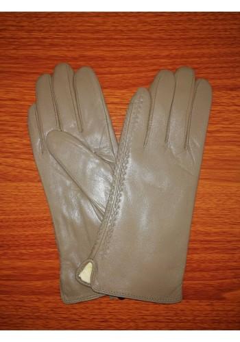 S 042 - Дамски ръкавици от естествена агнешка кожа в сиво - бежов цвят