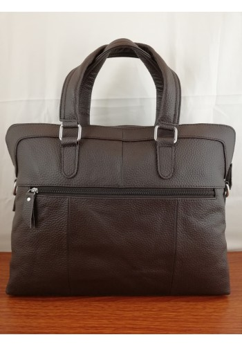 S 8163 Мъжка бизнес чанта за документи и лаптоп EXCLUSIVE от висококачествена естествена кожа - щампован CROCODILE  кафява за през рамо и в ръка