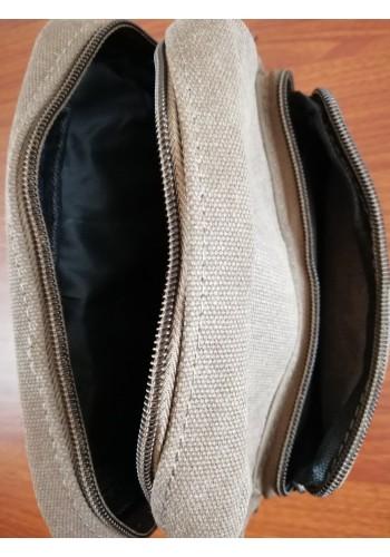 S 0398 Мъжка текстилна чанта за през рамо от брезентов плат в светло кафяво - универсална