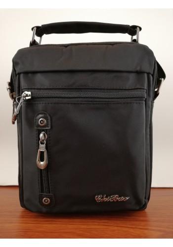 S 9563 Мъжка текстилна чанта за през рамо и в ръка от импрегниран непромокаем плат в черно