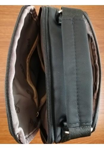 S 3880 Мъжка текстилна чанта за през рамо и в ръка от импрегниран непромокаем плат в черно