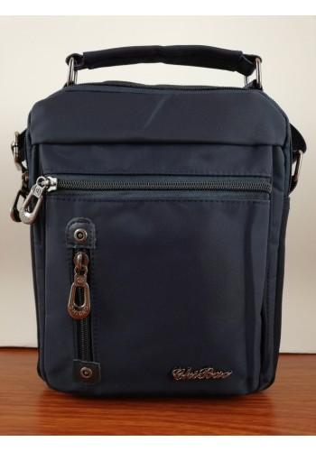 S 9563 Мъжка текстилна чанта за през рамо и в ръка от импрегниран непромокаем плат в тъмно синьо