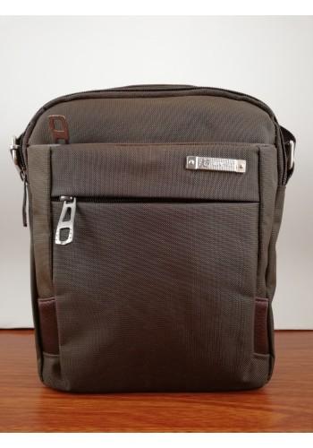 K 8022 Мъжка текстилна чанта за през рамо и в ръка от импрегниран непромокаем плат кафява промазка