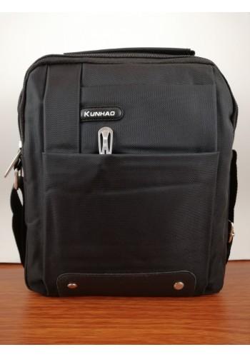 K 367 Мъжка текстилна чанта за през рамо и в ръка от импрегниран непромокаем плат в черно