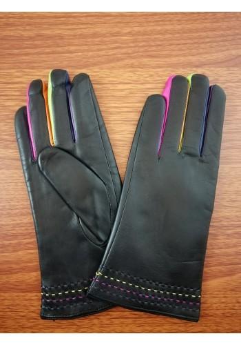 LUX 1683  Дамски ръкавици от луксозна естествена кожа с цветни пръсти в черно
