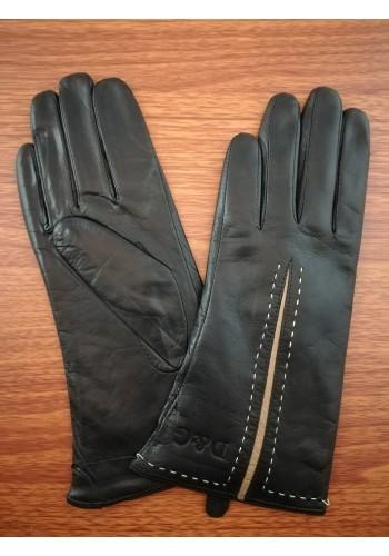LUX 1684  Дамски ръкавици от луксозна естествена кожа с кафява лента в черно