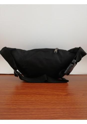 S 258 Мъжка текстилна чанта за кръста - тип банан от импрегниран непромокаем плат в черно