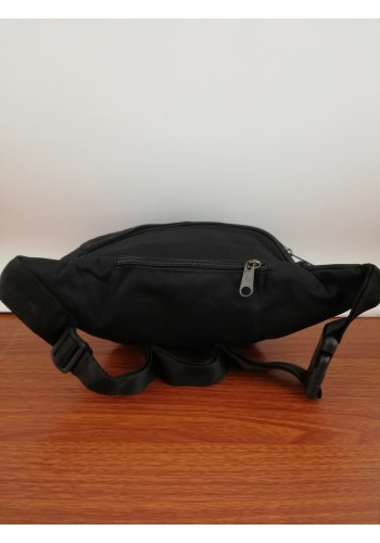 S 239 Мъжка текстилна чанта за кръста - тип банан от импрегниран непромокаем плат в черно